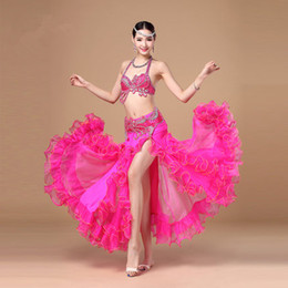 Danza Del Vientre De Gasa Baratos-Stage Performance Luxury Belly Dancing 2016 Egyptian Costumes Oriental Style Rhinestone Sujetador, Cinturón de gasa Falda Belly Dance 3pcs