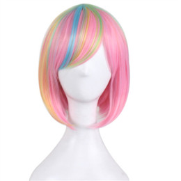 $enCountryForm.capitalKeyWord UK - Cosplay Wig Short Animation Bob Hair Wigs Side Bang Wig for Pink Blue Colorful Women Synthetic Wig