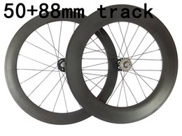 Bicycling Gear Australia - HOT Fixed Gear carbon Road Bike wheels front 50mm rear 88mm carbon bicycles wheelset 20.5mm rims 3K weave glossy matte finish