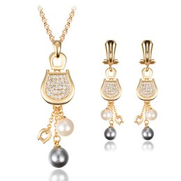 18k Earrings Wholesale Canada - 18K Gold Plated Pearl Necklace Earrings Sets High Quality Fashion Jewelry Sets For Women Cheap Jewelry Set CAL31093A