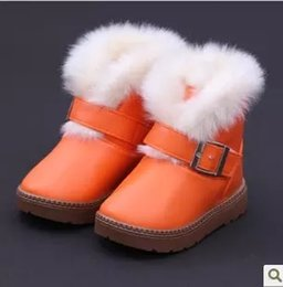 Barato Sapatas Mornas Da Pele Dos Miúdos-Kids Girls Boys Boot de neve Baby Girl Boy Fur Pu Calçados quentes de couro 2018 New Winter Kids Winter Booties Tamanho 24-35