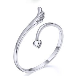 $enCountryForm.capitalKeyWord Canada - Love Heart Rings Lovers Couples Finger Rings Bague Adjustable Size 925 Stering Silver Ring Fashion Exquisite Angel Wing Open Ring Jewellry