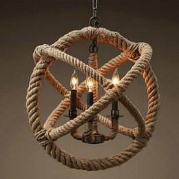 $enCountryForm.capitalKeyWord Canada - Rope Global Shape Pendant lights Hanging Light Lamp Chandelier Vintage American country style Industrial Handmade E14 Pendant Lamp