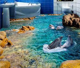 Dolphin Room Canada - HD dolphin sea bathroPainting PVC wallpaper om bathroom bedroom 3D floor PVC wallpaper for room