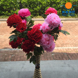 Big Flowers Peonies Canada - Big Size Artificial Flower Bouquets Real Touch 3 Heads One Branch Artificial Peony Flower Bouquets Home Decoration