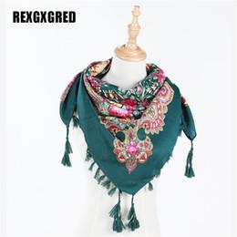 Big Tassel Scarves UK - Wholesale- Hot Sale New Fashion Ladies Big Square Scarves Short Tassel Floral Printed Women Wraps Winter lady shawls