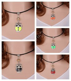 Cross Pendant Genuine Leather Necklace Canada - Vintage Silver Enamel Owl Charms Choker Genuine Leather Collar Necklace&Pendants For Women Dress Fashion Jewelry DIY Accessories 10PCS S359