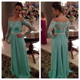 Barato Barco Pescoço Chiffon Vestido Verde-2015 Mint Green Boat Neck Long Evening Dresses Long Lace Sheer Sleeves Robe De Soiree Árabe Caftan Abaya vestido Formal Prom Gown FS295