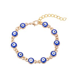 $enCountryForm.capitalKeyWord Canada - Cheap Sale Gold Plated Evil Eye Bracelet for Women Red Blue Green Bead Bracelet Turkish Lucky Jewelry Alloy Chain Accessories