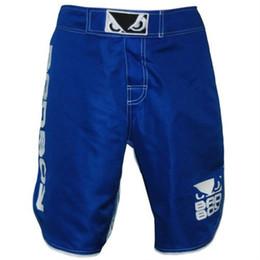 Cheap Trunks Canada - Mens MMA Boxing Shorts Badboy Fight Trunks Cheap Boxer Kickboxing Shorts Muay Thai Sanda Martial Arts Wrestling M-3XL Blue Black