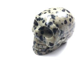 $enCountryForm.capitalKeyWord UK - 85g top quality Natural balmatin stone spot quartz stone carved skull charms pendants for DIY jewelry making
