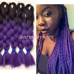 PurPle synthetic hair online shopping - Kanekalon Jumbo Synthetic Braiding Hair inch g Black dark purple Ombre Two tone Color Ombre synthetic Hair Extensions More colors