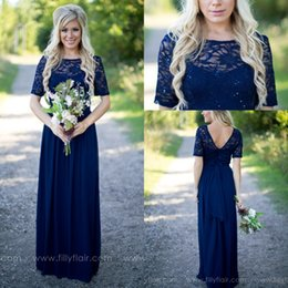 Discount light coral lace dress long - 2017 Country Style Navy Blue Bridesmaid Dresses Sheer Crew Neck Lace Top Short Sleeves Chiffon Backless Long Maid of the