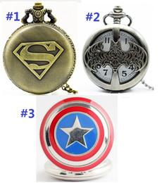 $enCountryForm.capitalKeyWord Canada - Big 47MM superman batman Captain America mens students boys necklace chain pocket watch wholesale 3 styles Bronze Vintage watch