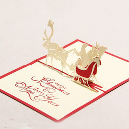 Sale Christmas Cards Canada - 100mm*150mm High quality Handmade Christmas Santa deer Parking Greetings Cards Kirigami 3D Pop up Card Hot Sale Free Shipping