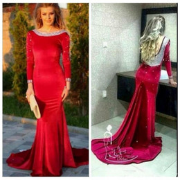Barato Vestido Longo Beaded On-line-Sexy Red Scoop Crystal Mermaid Velvet Evening Dresses Long Sleeves Beaded Backless Slim Prom Gowns Custom Online Party Party formal