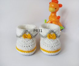 Crocheted Baby Boy Booties Canada - White Grey yellow crochet baby booties, baby girl and boy booties, shoes with yellow bow for him and her 0-12M custom