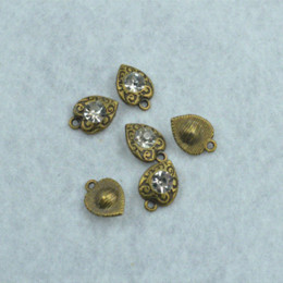 Horn Charms Wholesale NZ - DIY jewelry accessories 100pcs lot metal antique bronze charms floating rhinestone heart pendant fit jewerly making Z42335