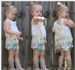 venda por atacado 2016 Meninas Da Moda Borlas Crianças Colete de Renda Colete Crianças Sem Mangas Rendas Borlas Colete Bebê Menina Colete Bonito Menina Outwear Criança Vest