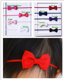 "baby hair thinning NZ - 25pcs baby ribbon hair bow with mini Thin Elastic headbands girl hair accessorie 2"" bow flower hair band slender rubber hair ties PJ5277"