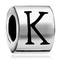 Chinese  Cylindrical Shaped Letter Initial I J K L M N O P European Alphabet Metal Bead Charm Bracelets Pandora Chamilia Compatible manufacturers