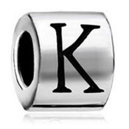 Letter P Bracelets NZ - Cylindrical Shaped Letter Initial I J K L M N O P European Alphabet Metal Bead Charm Bracelets Pandora Chamilia Compatible