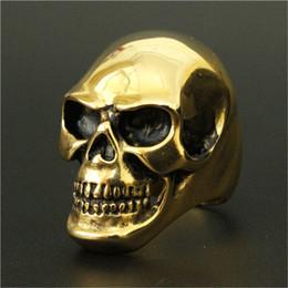Men Size 15 Rings Australia - 1pc New Arrival Size 8-15 Huge Skull Golden Ring 316L Stainless Steel Cool Fashion Men 18k Golden Skull Ring