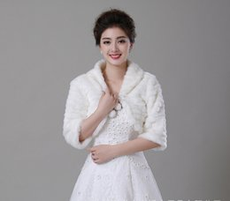 $enCountryForm.capitalKeyWord Canada - Pure White Pleat Fall Winter Warm Lapel Faux Fur Shrug wedding Shawl Bride Prom Party Bridal Wraps Jacket Women Bolero Jackets 7612