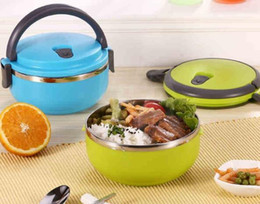 $enCountryForm.capitalKeyWord Canada - Fashion Hot Creative portable circular stainless steel insulation boxes green plastic student lunch box Child Bowl