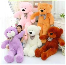 $enCountryForm.capitalKeyWord Canada - 160CM One Piece Soft PP Cotton Stuffed Bear Toy With Tie Giant Teddy Bears Plush Toys Girlfriends Christmas Presents