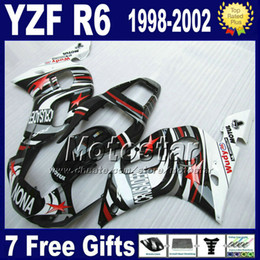 Plastics for 1999 yamaha r6 online shopping - 7 Free gifts Plastic fairing kit for YAMAHA YZF600 YZFR6 YZF R6 white black NONA fairings set VB90