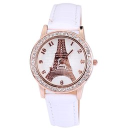 China Hot Sale Wrist Watches Leather Rhinestone Watches New Fashion Watches Paris Eiffel Tower Pattern For Gifts 100pcs Free Shipping suppliers