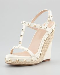 Summer Wedding Wedge Shoes Ivory NZ - Ivory Wedding SHoes For Bridal Wedges Sandals Party Shoes Sexy Plus Size Custom Made Elegant Womens Ladies Party Shoes Cheap Modest Rivets
