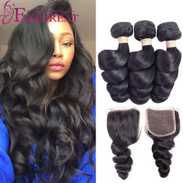 China Loose Wave Brazilian Human Hair Bundles with Closure Brazilian Virgin Hair Extensions Can Be Straightened and Curled Nice Texture Loose wave cheap human loose curl hair bundles suppliers