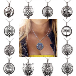silver cage locket pendants 2019 - Aromatherapy Perfume Diffuser Necklaces Fashion Life Of Tree Owl Essential Oil Diffuser Locket Necklace Jewelry Cage Pen