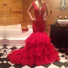 $enCountryForm.capitalKeyWord NZ - Custom Made Red Lace Applique Bead Mermaid Wedding Dresses Deep V-Neck Cascading Ruffle Sexy Bridal Gowns No Sleeve Vestidos De Novia