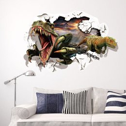 $enCountryForm.capitalKeyWord Canada - Dinosaur Breaking out of the wall to escape 3D Wall Decal Stickers Decor DIY Home Decroation Cartoon Wall Art Murals Stickers