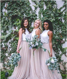 Gown Blue Pink Bridesmaid Two Tone NZ - 2018 New Two Tone Lace Crop Country Long Bridesmaid Dresses Hunter Green Plus Size Junior Maid of Honor Wedding Party Guest Gowns