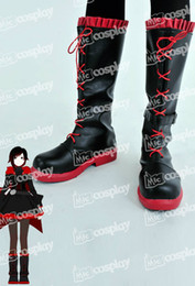 Costumes En Rubis En Gros Pas Cher-Wholesale-Anime New Hot RWBY Ruby Rose Cosplay Halloween Party Shoes