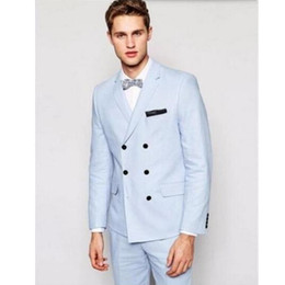 wedding coat blue color Canada - Custom men's self-cultivation sky blue double-breasted 2 piece suit groom wedding ball suit (coat + pants) custom made