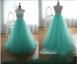 Barato Botões Verdes Baratos-2016 Cheap Prom Dresses com Lace Crew A Linha Back Covered Button Verde Mint Vestidos de noite Cheap Long Dresses Party Evening Verão