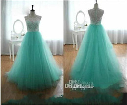 gold mint green prom Canada - 2016 Cheap Prom Dresses With Lace Crew A Line Back Covered Button Mint Green Evening Gowns Cheap Long Dresses Party Evening Summer