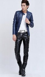 China Han edition cultivate one's morality men's winter fashion new add hair thickening trend nightclub black leather pants. S-XL cheap fashion trends hair suppliers