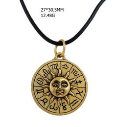 Vintage Style Pendant Necklace Canada - wholesale antique bronze plated vintage round egyptian style pendant sun face sign the gold charm leather chain necklace
