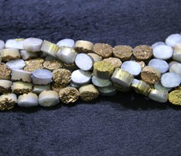 $enCountryForm.capitalKeyWord NZ - 13X18mm 15.5inch 1Strand Titanium Gold Druzy Agate Beads, Natural Gemstone Drusy Crystal Quartz Necklace Pendant Jewelry Make Connector
