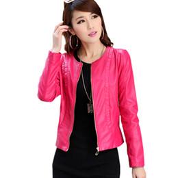 venta al por mayorlibre rojo chaqueta de imitacin de cuero de la chaqueta corta del diseo de las mujeres de la pu de la motocicleta capa de cuero de