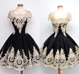 Custom Short Gown Canada - Real Picture 2016 Vintage Ball Gown Prom Dresses wih Capped Sleeves Short Embroidery Lace Evening Prom Gowns Custom Made BO9560