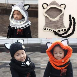 Baby Crochet Wrap NZ - INS Baby Boys Girls Kids Fox Hat Scarf Children Neck Warmer Wrap Beanie Crochet Collar Cartoon Windproof Fox Ear Hats
