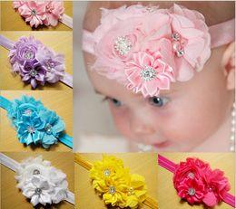O novo atacado pérola flor faixa de cabelo diamante Europa headband cabeça flor acessórios para o cabelo para crianças 10 opções de cores 10 pcs venda por atacado