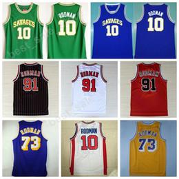 63ff4e7c1 ... Men Throwback 91 Dennis Rodman Jersey 73 Men Red Black White Oklahoma  Savages Basketball 73 Rodman ...